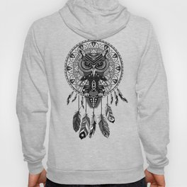 White Owl Dreamcatcher Aztec Pattern Hoody