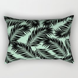 Palm Frond Tropical Décor Leaf Pattern Black on Mint Green Rectangular Pillow