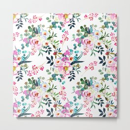 Watercolor magenta pink lilac teal hand painted roses pattern Metal Print