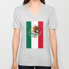 Mexican flag (augmented scale) with Coat of Arms (overlaid) Unisex V-Neck