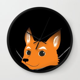 Fox in my pocket - on black Wall Clock