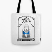 the legend of zelda Tote Bags featuring Zelda legend - Blue potion  by Art & Be