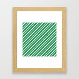 Kelly Green Tight Stripes Framed Art Print