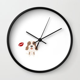 I Kissed An English Springer Spaniel And I Liked It Cute Dog Kiss Gift Idea Wall Clock