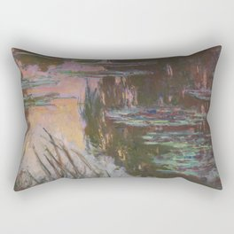 Water-Lilies, Setting Sun by Claude Monet Rectangular Pillow
