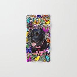 Abby in Butterflies - Black Labrador Dog Hand & Bath Towel