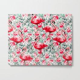 Flamingos and Flowers Metal Print
