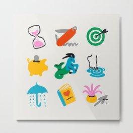 Capricorn Emoji Metal Print