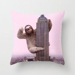 KING SLOTH Throw Pillow