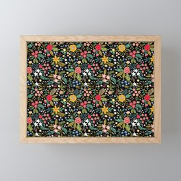 Amazing floral pattern with bright colorful flowers, plants, branches and berries on a black backgro Framed Mini Art Print
