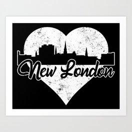 Retro New London Connecticut Skyline Heart Distressed Art Print