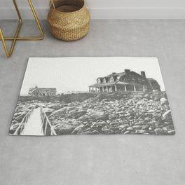 1895 Windswept Black Point Mansion, Scarborough Beach, Narragansett, Rhode Island Then & Now Rug