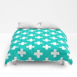 Aqua Blue Plus Sign Pattern Comforters
