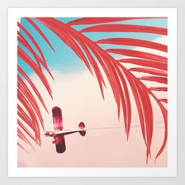 Plane through Pink Palms at The Museum of Ice Cream Art Print