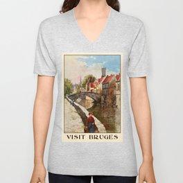 Vintage retro style Bruges travel advertising Unisex V-Neck