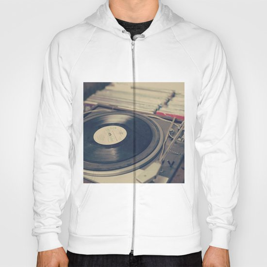 Vintage Turntable and Records  Hoody