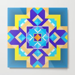 Geometric Tribal Mandala Inspired Modern Trendy Vibrant (Blue, Cobalt, Yellow, Orange, Purple) Metal Print