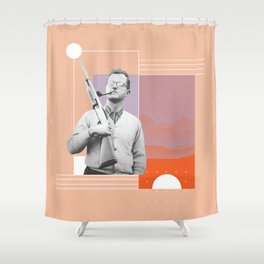 PJ with a Pipe Shower Curtain
