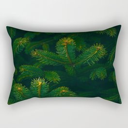 Close Up Of Evergreen Pine Leaves Rectangular Pillow
