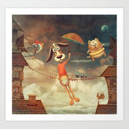 Dog with an umbrella, a small fish and a cat in sky. Art Print