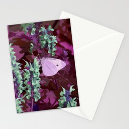 Pink Moth on Green Sage Flowers Painted Photograph Stationery Cards