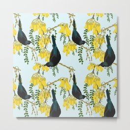 Tuis in the Kowhai Flowers Metal Print