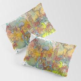 Village of Portraits Abstract Landscape Watercolor Illustration Painting Pillow Sham