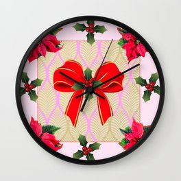 RED RIBBON BOW HOLLY BERRIES CHRISTMAS POINSETTIAS Wall Clock