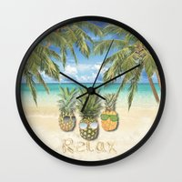 relax Wall Clocks featuring relax by ulas okuyucu