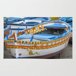 Colorful Boats at Sicily Italy Rug