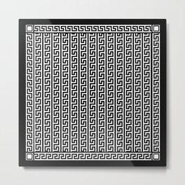Greek Key Full - White and Black Metal Print