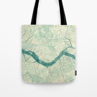 seoul Tote Bags featuring Seoul Map Blue Vintage by City Art Posters