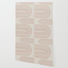 Burnt Orange Line Art Wallpaper