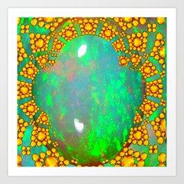 OCTOBER BIRTHSTONE GREEN FIRE OPAL & GOLD DESIGN Art Print