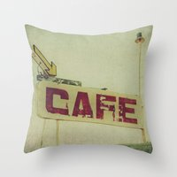 cafe Throw Pillows featuring Cafe by Honey Malek