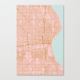 Pink and gold Milwaukee map Canvas Print