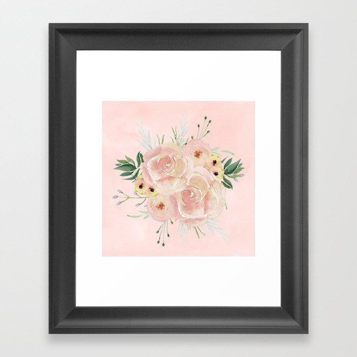 Wild Roses on Seashell Pink Watercolor Framed Art Print