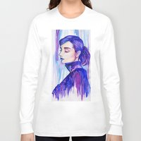 hepburn Long Sleeve T-shirts featuring Audrey Hepburn by VivianLohArts