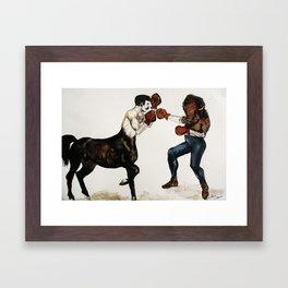 Centaur boxing Buffalo or Bison Framed Art Print