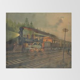 Night Scene on the NY Central Railroad (Currier & Ives) Throw Blanket