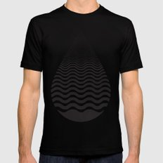 Water Drop Black Mens Fitted Tee MEDIUM