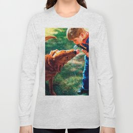 A Boy and his Dog Water Hose Thirst Colorful Long Sleeve T-shirt