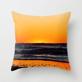 Orange Sunset on the Beach Throw Pillow