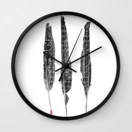 The Writer's Feathers Wall Clock