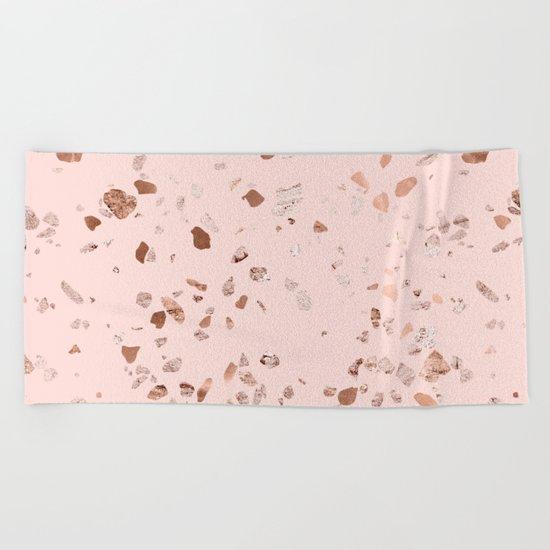 Rose Gold Pink Terrazzo Beach Towel