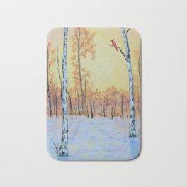 Winter Birches - Cardinal Right Bath Mat