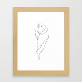 Single tulip line drawing. Black and white contour sketch. Framed Art Print