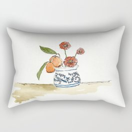 Kumquats, Poppies, and Blue and White Pot Rectangular Pillow