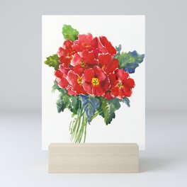 Red Flowers, Primula, red floral design Mini Art Print