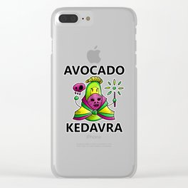 Avocado Kedavra - Death Eater Avocado with Wand Clear iPhone Case